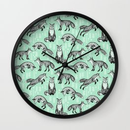 Fox pattern drawing foxes cute andrea lauren mint forest animals woodland nursery Wall Clock