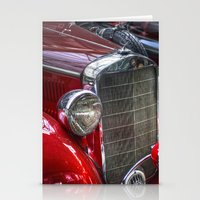mercedes Stationery Cards featuring Old Merc red by Cozmic Photos