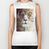amy hamilton Biker Tanks featuring Lion // Majesty by Amy Hamilton