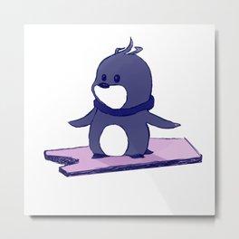 Surfing Penguin Metal Print