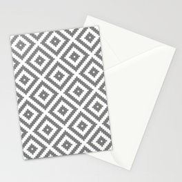Grey white ethnic tribal zig zag rhombus pattern Stationery Cards