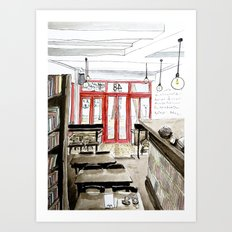 The Booklovers Cafe Art Print
