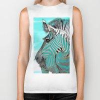 zebra Biker Tanks featuring Zebra  by Saundra Myles
