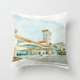 Watercolor Warwick World Headquarters Throw Pillow