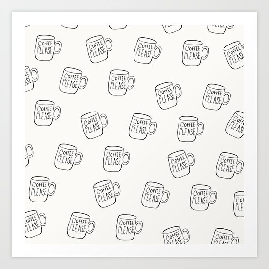 Coffee Cup Pattern for the Coffee Obsessed Art Print