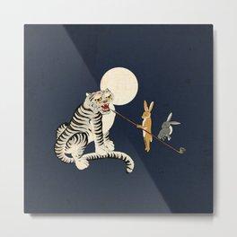 Minhwa: Tiger and Rabbits A Type Metal Print