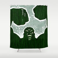 hulk Shower Curtains featuring Hulk by Duke Dastardly