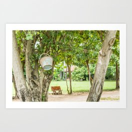 Bucket & Trees, Killing Fields, Cambodia Art Print