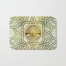 Golden Tree of life  -Yggdrasil on vintage paper Bath Mat