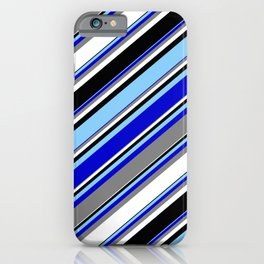Light Sky Blue, Blue, Gray, White, and Black Colored Striped Pattern iPhone Case