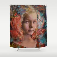 alice in wonderland Shower Curtains featuring Alice in wonderland by Ganech joe