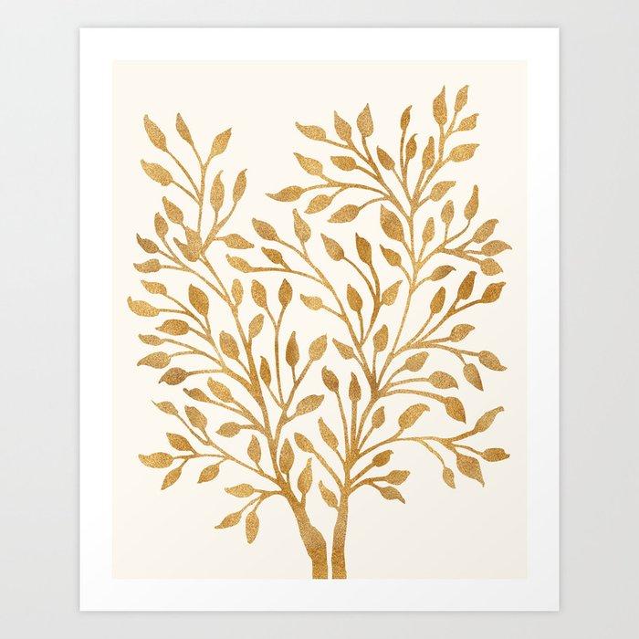 Golden Ficus Tree Art Print