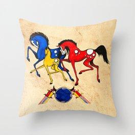 Navajo Horse Family Throw Pillow
