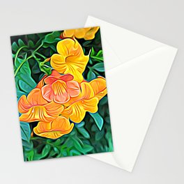 Orange Flowers of Flowing Circuitry Stationery Cards