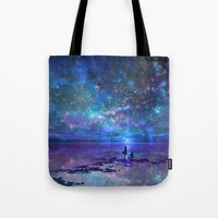 discount Tote Bags featuring Ocean, Stars, Sky, and You by Melissa Hui Wang (muddymelly)