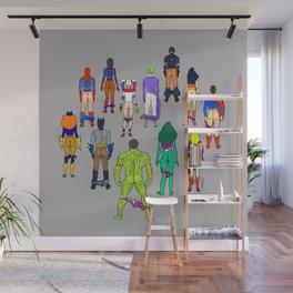 Superhero Butts - Power Couple on Grey Wall Mural