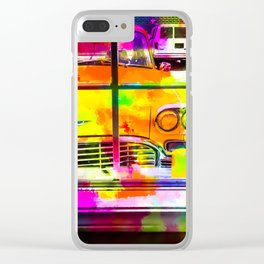 yellow classic taxi car with colorful painting abstract in pink orange green Clear iPhone Case