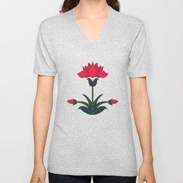 Mughal Flower Motif Unisex V-Neck
