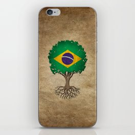 Vintage Tree of Life with Flag of Brazil iPhone Skin