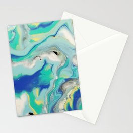Blue & Yellow Marble Ocean Minimalist Pour Painting Stationery Cards