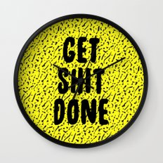 Get Shit Done 1980s 1990s Wall Clock