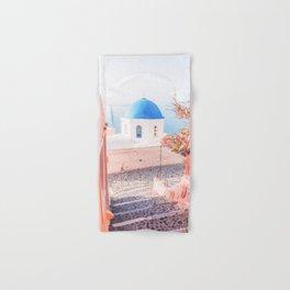 Santorini Greece Pink Old Street Travel photography Hand & Bath Towel