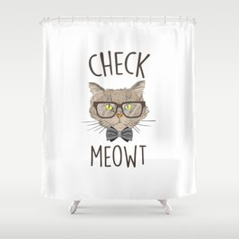 Check Meowt, Funny Cute Cat Shower Curtain