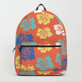 Hibiscus flower silhouettes. Yellow, royal blue and aqua blue Hawaiian hibiscus flowers on an orange background. Vintage inspired. Backpack