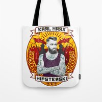 marx Tote Bags featuring Karl Marx Hipster by Ferguccio
