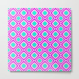 Cowgirl Pink and Turquoise Navajo Native Inspired Oklahoma Arizona Southwestern Design Pattern Metal Print