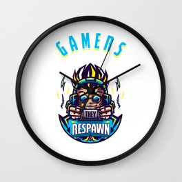 Videogames Gaming Computer Games Gift Gamers Don't Die they Respawn Wall Clock