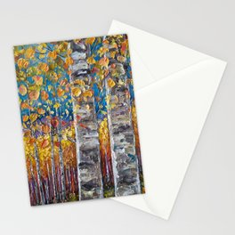 Colorful Autumn Aspen Trees  Stationery Cards