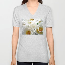 White tulips with afterglow centers Unisex V-Neck