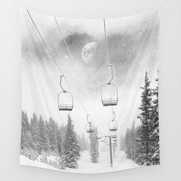 Ski Lift Moon Break // Riding the Mountain at Copper Colorado Luna Sky Peeking Foggy Clouds Wall Tapestry