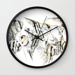 Fish Zebra Design, Angelfish aquarium design, underwater scene, black and white Wall Clock