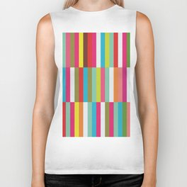 Bright Colorful Stripes Pattern - Pink, Green, Summer Spring Abstract Design by Biker Tank