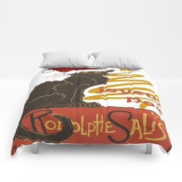 Joyeux Noel Le Chat Noir With Stylized Golden Tree Comforters