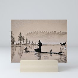 Sunrise Bird Fishing Mini Art Print
