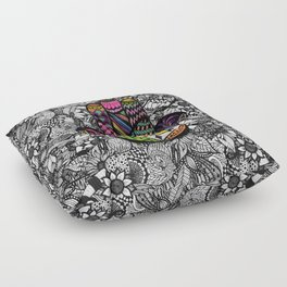 Colorful Hand Drawn Hamsa Hand an Floral Drawings Floor Pillow