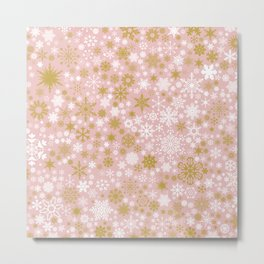 A Thousand Snowflakes in Rose Gold Metal Print