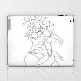 Minimal Line Art Woman with Flowers V Laptop & iPad Skin