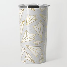 Paper Airplanes Faux Gold on Grey Travel Mug