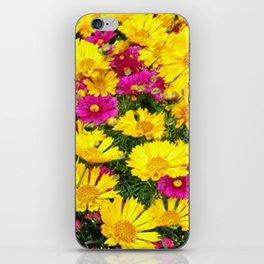 YELLOW COREOPSIS & FUCHSIA GARDEN FLOWERS iPhone Skin
