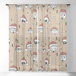 Scandinavian geometric woodland santa indian animals christmas pattern terra cotta red Sheer Curtain