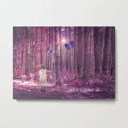 Girl in Bright Purple and Pink Forest with Butterflies Metal Print