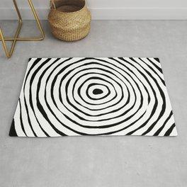 Black & White Minimalist Mid Century Abstract Ink Line Spiral Hypnotic Circle Rug