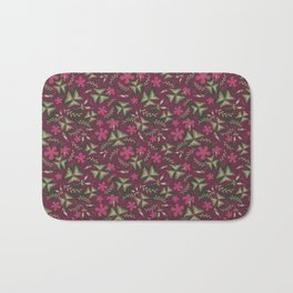 Shamrock Floral Layered Pattern / Purple Bath Mat