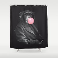 darwin Shower Curtains featuring Darwin Gum by David Alegria