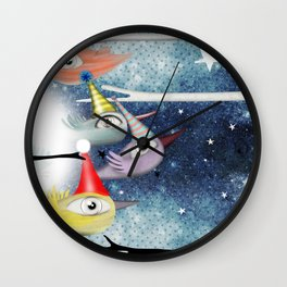 Birds following the stars Wall Clock