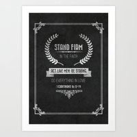 bible verses Art Prints featuring 1 Corinthians 16 verses 13 and 14 Typographic Bible Verse by Encouraging Verses UK